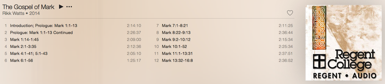 Rikk Watts Gospel of Mark Tracklist