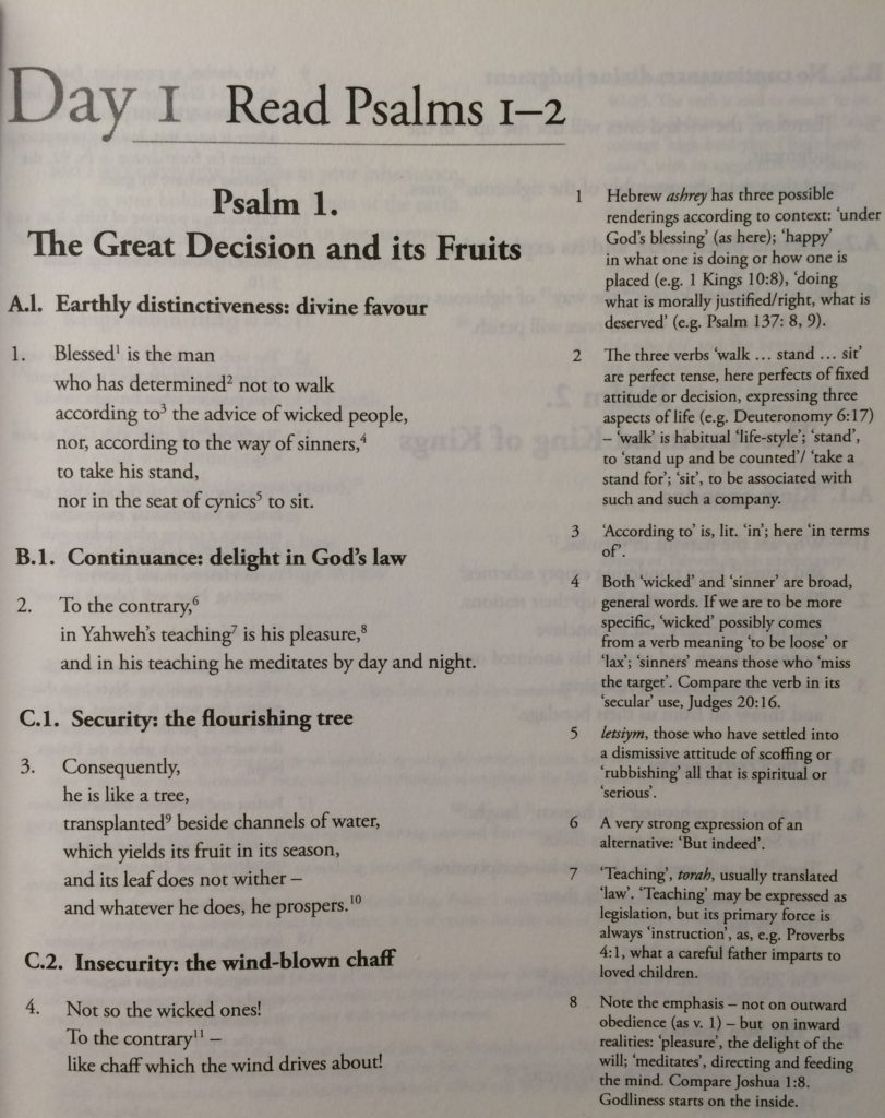 Psalms by the Day example